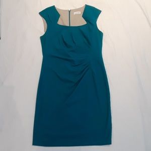 Calvin Klein Teal Ruched Side Pencil Dress